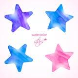 Estrelas da aquarela ajustadas ilustração royalty free