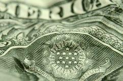 Estrelas da brasão dos E.U. na nota de dólar americana fotos de stock