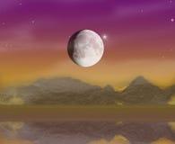 Estrelas da noite e momento do rio das cores ilustração do vetor