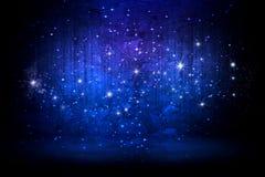 Estrelas de incandescência abstratas em um fundo azul ilustração do vetor