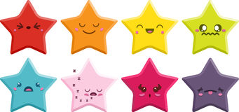 Estrelas de Kawaii ajustadas Fotografia de Stock
