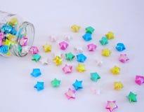 Estrelas de papel. Estrelas feitas de papel - origami stock photography