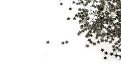 Estrelas de prata bonitos em um fundo branco Imagens de Stock Royalty Free