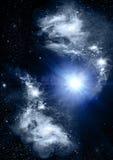 Estrelas de um planeta e de uma galáxia ilustração royalty free