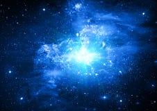 Estrelas de um planeta e de uma galáxia ilustração stock