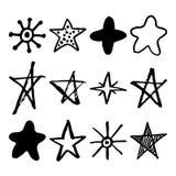 Estrelas desenhadas mão ajustadas Fotos de Stock