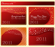 Estrelas do Natal dos cartões dos flocos de neve ajustadas Foto de Stock Royalty Free