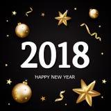 2018 estrelas do ouro do ano novo, decoração do brilho dos confetes em b preto Foto de Stock Royalty Free