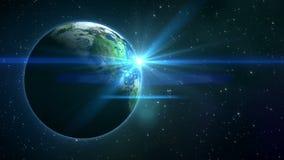 Estrelas do twinkling e terra do planeta no espaço ilustração stock