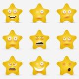Estrelas dos desenhos animados com as caras emocionais nos desenhos animados Imagens de Stock Royalty Free
