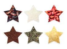 Estrelas dos formulários com alimentos e especiarias Fotografia de Stock Royalty Free