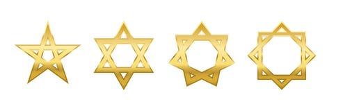 Estrelas douradas de Heptagram Octagram do Hexagram do Pentagram Foto de Stock Royalty Free