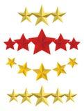 Estrelas douradas do vetor cinco Fotos de Stock