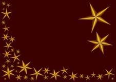 Estrelas douradas no fundo vermelho Imagens de Stock Royalty Free