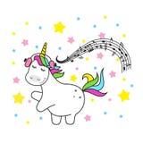 Estrelas e arco-íris bonitos mágicos do unicórnio Ilustração do cartão do cartaz com esboço ilustração royalty free