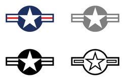 Estrelas e barras militares - mostre o pássaro e o cinza tático no fundo branco ilustração do vetor