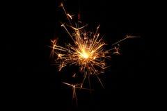Estrelas e chuveirinhos dos fogos-de-artifício Fotografia de Stock