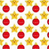 Estrelas e esferas do fundo do Natal Foto de Stock