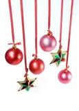 Estrelas e esferas vermelhas Fotos de Stock Royalty Free
