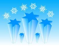 Estrelas e flocos Fotografia de Stock Royalty Free