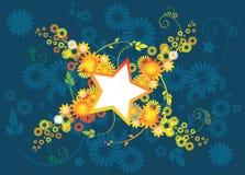 Estrelas e flores ilustração stock