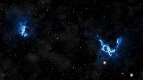 Estrelas e galáxias Loopable multicolored Fundo colorido do espaço: nebulosa, estrelas, cometas Galáxias de incandescência e pass ilustração royalty free