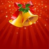 Estrelas e listras com sinos de Natal Fotografia de Stock