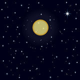 Estrelas e lua de brilho na obscuridade - céu azul Foto de Stock