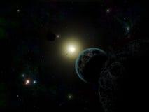 Estrelas e planeta fotografia de stock