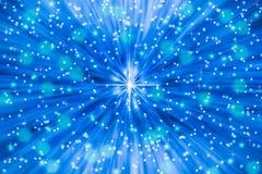 Estrelas e Sparkles no fundo azul ilustração royalty free