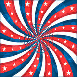 Estrelas e swirly listras da bandeira americana Fotografia de Stock Royalty Free