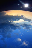 Estrelas e terra da lua Foto de Stock Royalty Free