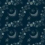 Estrelas e textura da lua ilustração do vetor