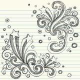 Estrelas esboçado de volta a vetor ajustado do Doodle da escola Imagem de Stock