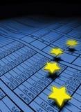 Estrelas européias sobre o spreadsheet Fotografia de Stock