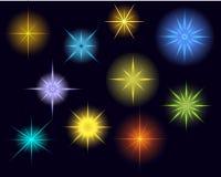 Estrelas, luzes e sparkles de incandescência do vetor Fotos de Stock
