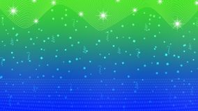 Estrelas, luzes, Sparkles, confetes e fitas brilhantes abstratos no fundo azul e verde ilustração stock