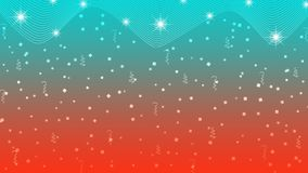 Estrelas, luzes, Sparkles, confetes e fitas brilhantes abstratos no fundo vermelho e ciano ilustração royalty free