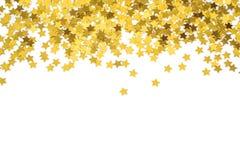 Estrelas malogrados do ouro quadro com estrelas Beira dispersada das estrelas Textura malogrado natural Fotos de Stock