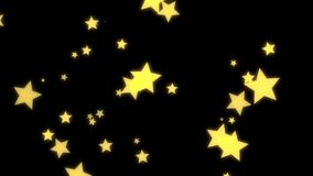 Estrelas no fundo preto com canal alfa Desgin de incandesc?ncia das estrelas do ouro video estoque