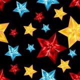 Estrelas Pedras preciosas em um fundo preto Corte da joia ilustração stock