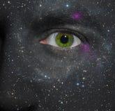 Estrelas pintadas em uma face Fotos de Stock Royalty Free