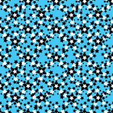Estrelas preto e branco em um teste padrão sem emenda do fundo azul Fotografia de Stock