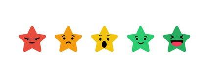 Estrelas que avaliam nas emoções do formulário ilustração stock