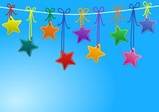 Estrelas que penduram em uma corda Ilustração do Vetor