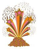 Estrelas retros, listras, fogo-de-artifício ilustração royalty free
