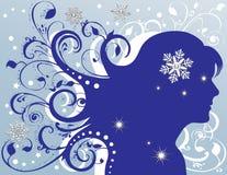 Estrelas Sparkling fêmeas dos flocos de neve de Grunge Fotos de Stock Royalty Free