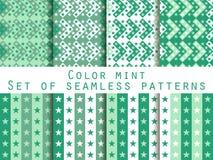 Estrelas Testes padrões sem emenda ajustados Hortelã da cor Fotografia de Stock