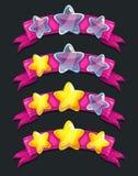 Estrelas vítreos dos desenhos animados frescos na fita cor-de-rosa ilustração royalty free