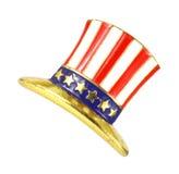 Estrelas velhas e pino dado forma chapéu da bandeira das listras fotografia de stock